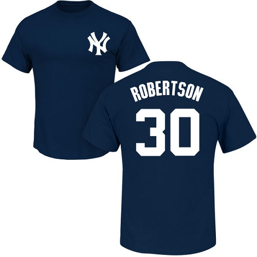 MLB Nike New York Yankees #30 David Robertson Navy Blue Name & Number T-Shirt