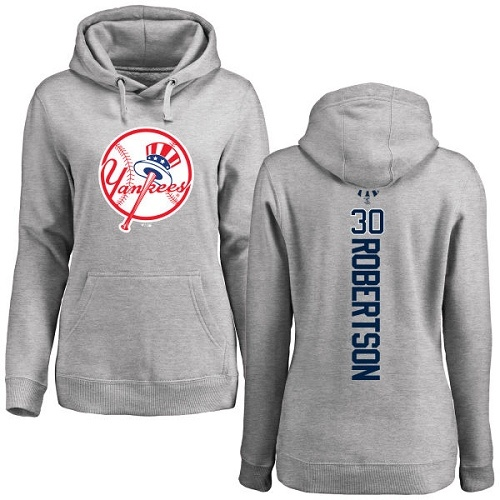 MLB Women's Nike New York Yankees #30 David Robertson Ash Backer Pullover Hoodie