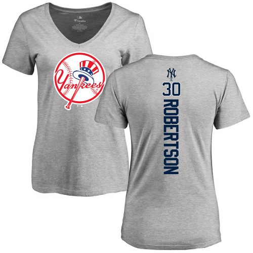 MLB Women's Nike New York Yankees #30 David Robertson Ash Backer T-Shirt