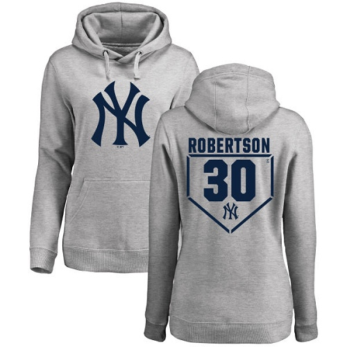 MLB Women's Nike New York Yankees #30 David Robertson Gray RBI Pullover Hoodie