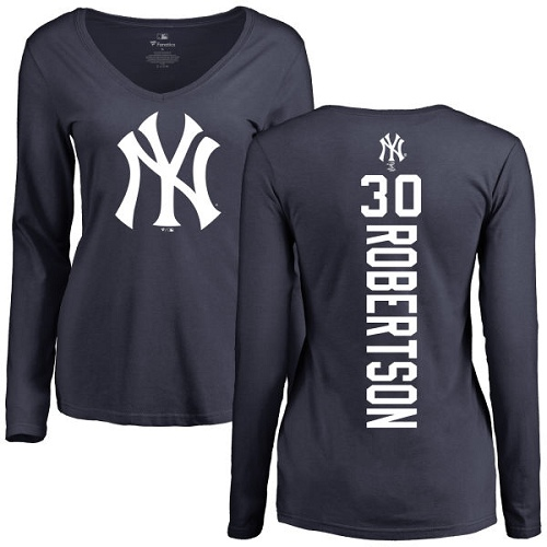 MLB Women's Nike New York Yankees #30 David Robertson Navy Blue Backer Long Sleeve T-Shirt