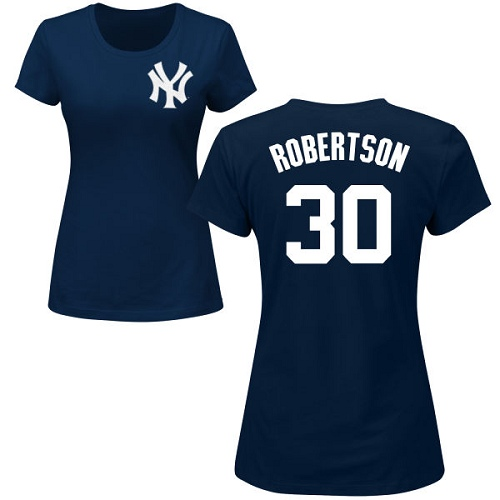 MLB Women's Nike New York Yankees #30 David Robertson Navy Blue Name & Number T-Shirt