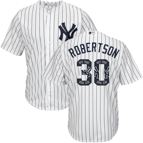 Men's Majestic New York Yankees #30 David Robertson Authentic White Team Logo Fashion MLB Jersey