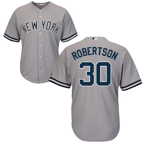 Men's Majestic New York Yankees #30 David Robertson Replica Grey Road MLB Jersey