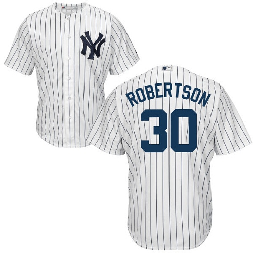 Men's Majestic New York Yankees #30 David Robertson Replica White Home MLB Jersey
