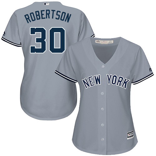 Women's Majestic New York Yankees #30 David Robertson Authentic Grey Road MLB Jersey