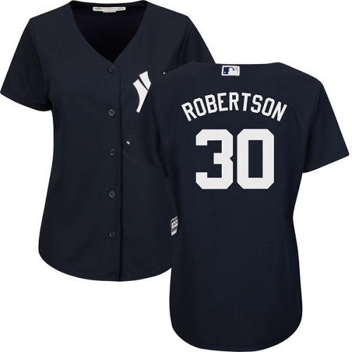 Women's Majestic New York Yankees #30 David Robertson Authentic Navy Blue Alternate MLB Jersey