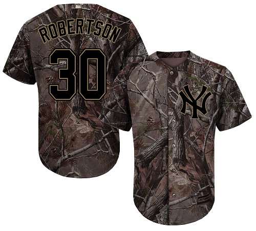 Youth Majestic New York Yankees #30 David Robertson Authentic Camo Realtree Collection Flex Base MLB Jersey