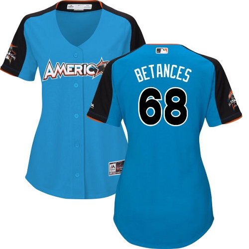 Women's Majestic New York Yankees #68 Dellin Betances Authentic Blue American League 2017 MLB All-Star MLB Jersey