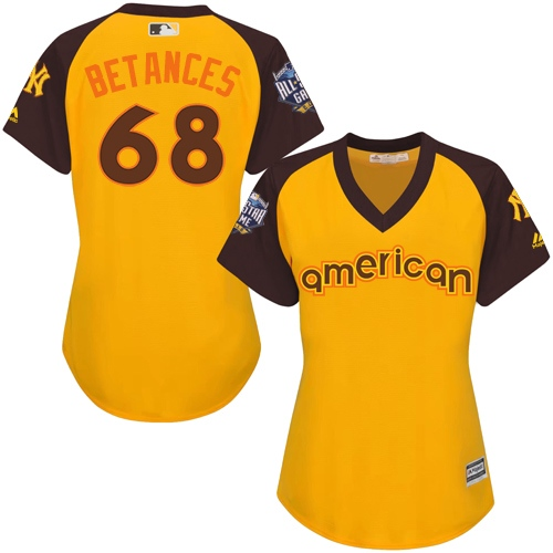 Women's Majestic New York Yankees #68 Dellin Betances Authentic Yellow 2016 All-Star American League BP Cool BaseMLB Jersey