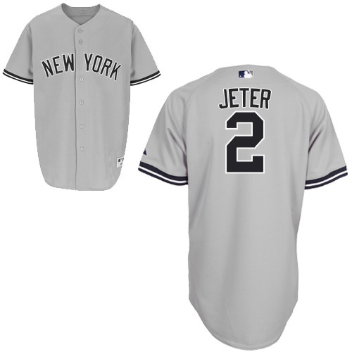 Men's Majestic New York Yankees #2 Derek Jeter Authentic Grey Name On Back MLB Jersey