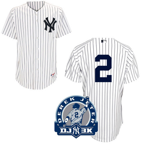 Men's Majestic New York Yankees #2 Derek Jeter Authentic White DJ-3K Patch MLB Jersey