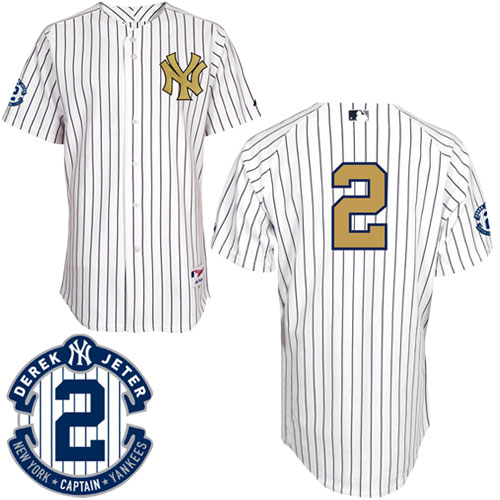 Men's Majestic New York Yankees #2 Derek Jeter Authentic White Fashion Gold w/Commemorative Retirement Patch MLB Jersey