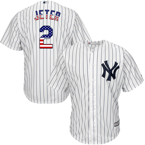 Men's Majestic New York Yankees #2 Derek Jeter Authentic White USA Flag Fashion MLB Jersey