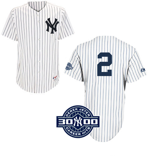 Men's Majestic New York Yankees #2 Derek Jeter Authentic White W/3000 Hits Patch MLB Jersey