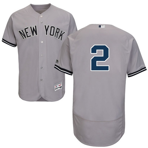 Men's Majestic New York Yankees #2 Derek Jeter Grey Road Flex Base Authentic Collection MLB Jersey