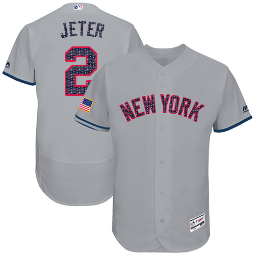 Men's Majestic New York Yankees #2 Derek Jeter Grey Stars & Stripes Authentic Collection Flex Base MLB Jersey
