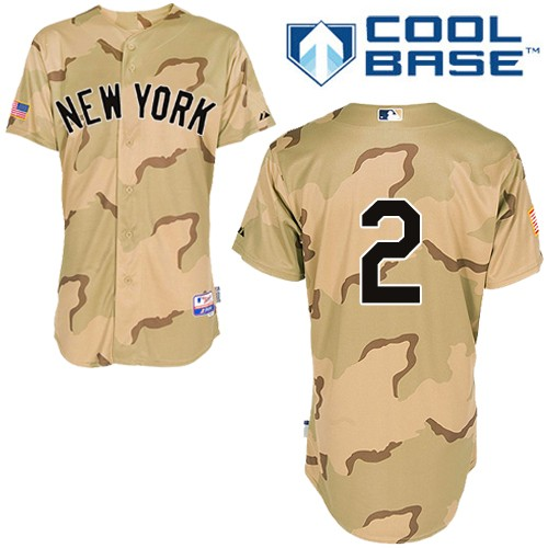 Men's Majestic New York Yankees #2 Derek Jeter Replica Camo Commemorative Military Day Cool Base MLB Jersey