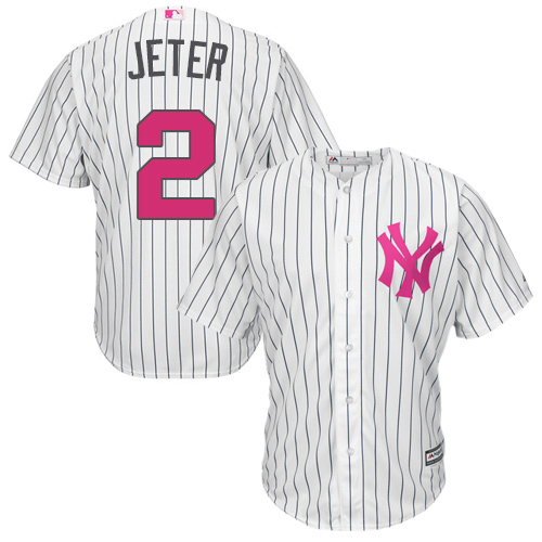 Men's Majestic New York Yankees #2 Derek Jeter Replica White 2016 Mother's Day Cool Base MLB Jersey