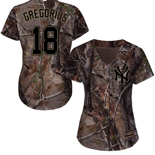 Women's Majestic New York Yankees #18 Didi Gregorius Authentic Camo Realtree Collection Flex Base MLB Jersey