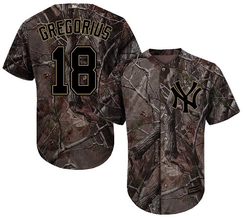 Youth Majestic New York Yankees #18 Didi Gregorius Authentic Camo Realtree Collection Flex Base MLB Jersey