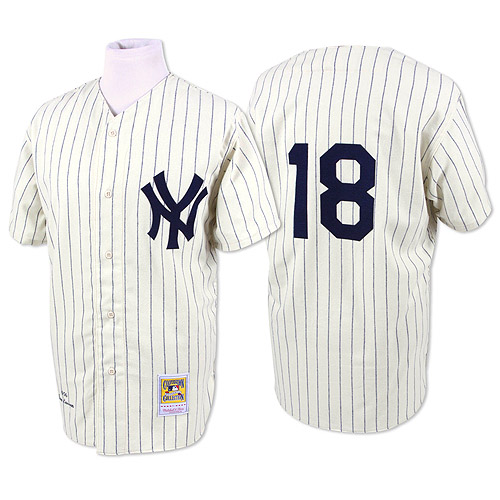 Men's Mitchell and Ness New York Yankees #18 Don Larsen Authentic White Throwback MLB Jersey