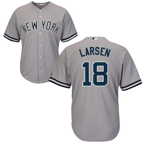 Youth Majestic New York Yankees #18 Don Larsen Authentic Grey Road MLB Jersey