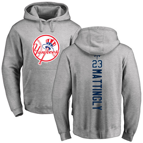 MLB Nike New York Yankees #23 Don Mattingly Ash Backer Pullover Hoodie