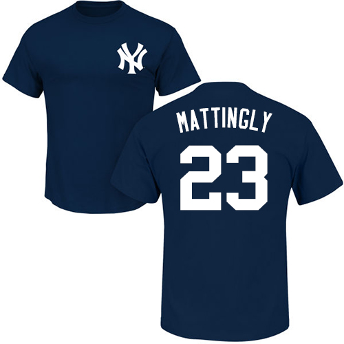 MLB Nike New York Yankees #23 Don Mattingly Navy Blue Name & Number T-Shirt