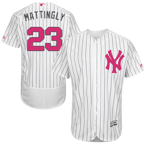 Men's Majestic New York Yankees #23 Don Mattingly Authentic White 2016 Mother's Day Fashion Flex Base MLB Jersey