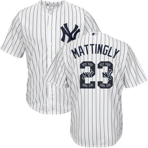 Men's Majestic New York Yankees #23 Don Mattingly Authentic White Team Logo Fashion MLB Jersey