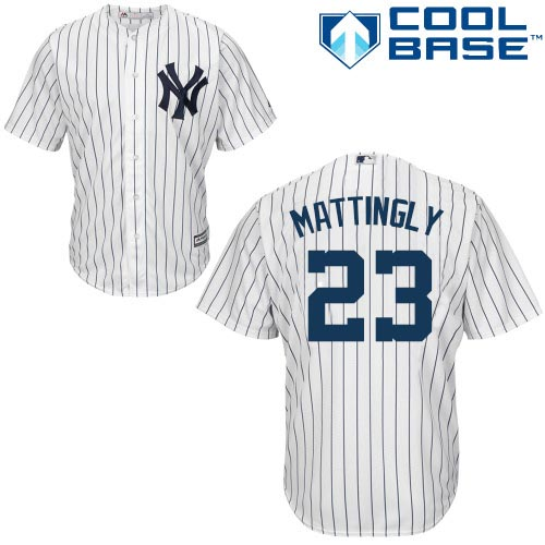 Men's Majestic New York Yankees #23 Don Mattingly Replica White Home MLB Jersey