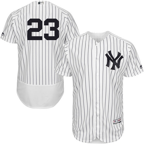Men's Majestic New York Yankees #23 Don Mattingly White Home Flex Base Authentic Collection MLB Jersey