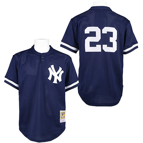 Men's Mitchell and Ness 1995 New York Yankees #23 Don Mattingly Authentic Blue Throwback MLB Jersey