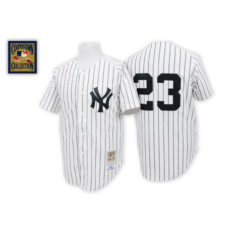 Men's Mitchell and Ness New York Yankees #23 Don Mattingly Authentic White Throwback MLB Jersey