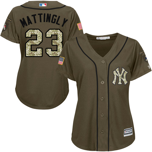 Women's Majestic New York Yankees #23 Don Mattingly Authentic Green Salute to Service MLB Jersey