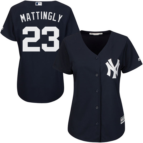 Women's Majestic New York Yankees #23 Don Mattingly Authentic Navy Blue Alternate MLB Jersey