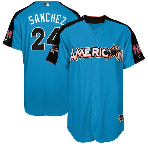 Men's Majestic New York Yankees #24 Gary Sanchez Authentic Blue American League 2017 MLB All-Star MLB Jersey