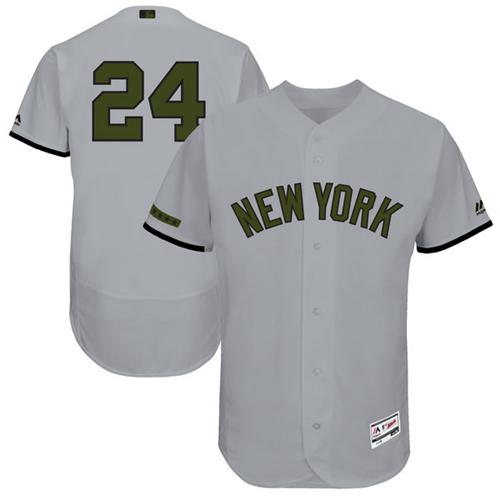 Men's Majestic New York Yankees #24 Gary Sanchez Grey Memorial Day Authentic Collection Flex Base MLB Jersey