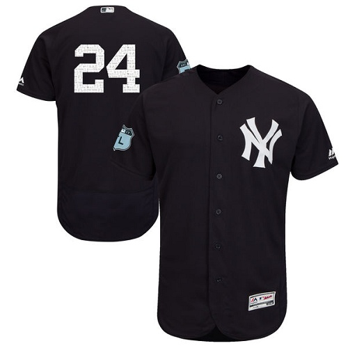 Men's Majestic New York Yankees #24 Gary Sanchez Navy Blue 2017 Spring Training Authentic Collection Flex Base MLB Jersey