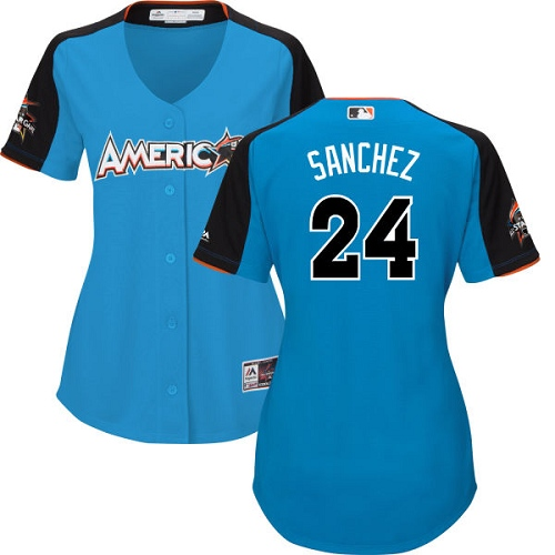 Women's Majestic New York Yankees #24 Gary Sanchez Authentic Blue American League 2017 MLB All-Star MLB Jersey