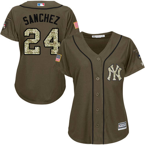 Women's Majestic New York Yankees #24 Gary Sanchez Authentic Green Salute to Service MLB Jersey
