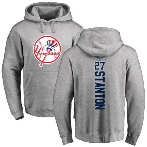 MLB Nike New York Yankees #27 Giancarlo Stanton Ash Backer Pullover Hoodie