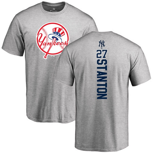 MLB Nike New York Yankees #27 Giancarlo Stanton Ash Backer T-Shirt