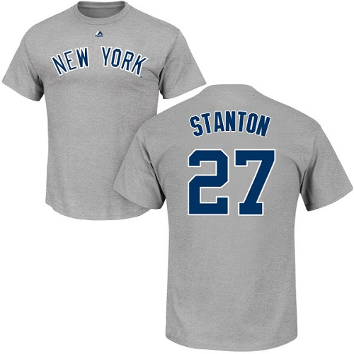 MLB Nike New York Yankees #27 Giancarlo Stanton Gray Name & Number T-Shirt