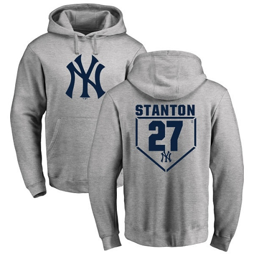 MLB Nike New York Yankees #27 Giancarlo Stanton Gray RBI Pullover Hoodie