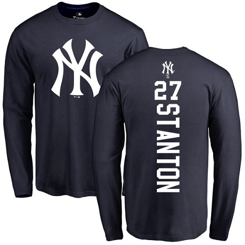 MLB Nike New York Yankees #27 Giancarlo Stanton Navy Blue Backer Long Sleeve T-Shirt