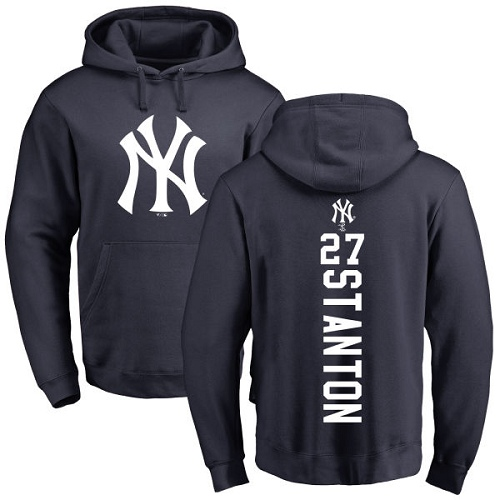 MLB Nike New York Yankees #27 Giancarlo Stanton Navy Blue Backer Pullover Hoodie