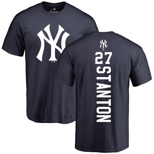 MLB Nike New York Yankees #27 Giancarlo Stanton Navy Blue Backer T-Shirt
