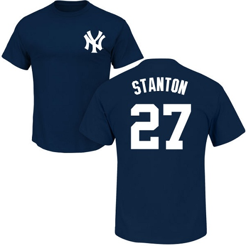 MLB Nike New York Yankees #27 Giancarlo Stanton Navy Blue Name & Number T-Shirt